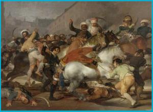 Carga de los mamelucos, la caballería de choque del ejército imperial, contra los madrileños. Cuadro de Goya
