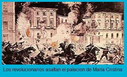 Los revolucionarios asaltan el palacio de María Cristina durante la Vicalvarada