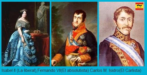 Isabel II, Fernando VII y Carlos M. Isidro