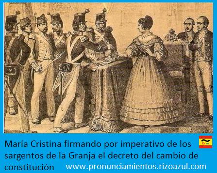 María Cristina obligada a firmar el cambio de constitución