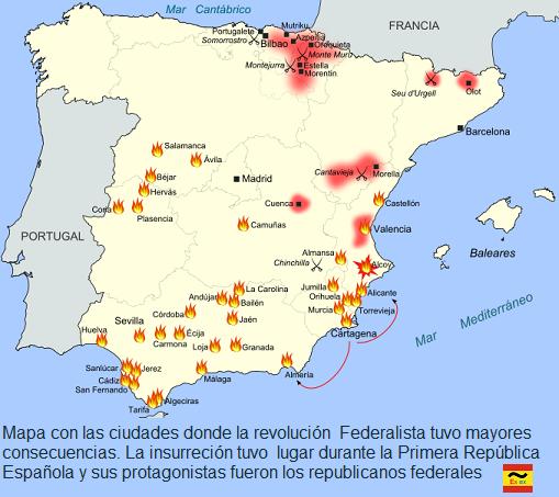 mapa ciudades con rebelión cantonalista durante la primera república federal