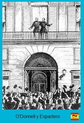 O´Donnell y Espartero en la Puerta del Sol de Madrid durante la Vicalvarada