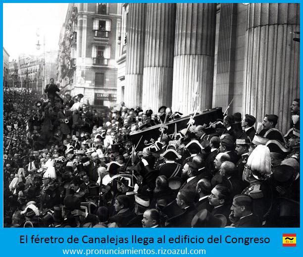 el féretro de Canalejas llega al congreso