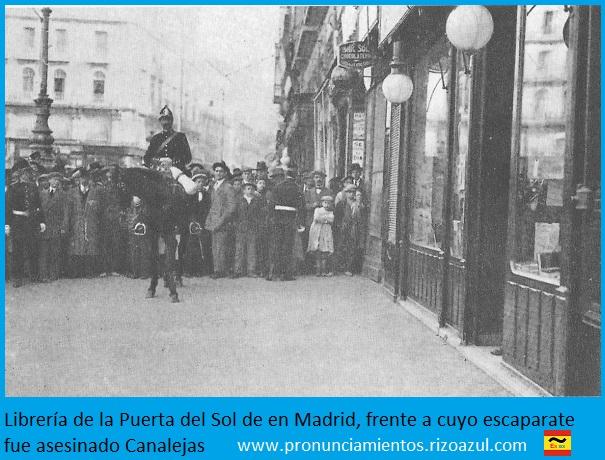 Librería San Martín lugar del asesinato de Canalejas