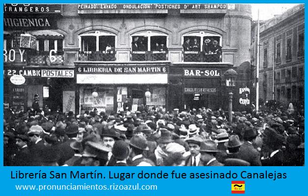 Librería San Martín . Puerta del Sol. Lugar del asesinato de Canalejas