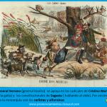 caricaturas de la Flaca: el general Serrano con Martos, Sagasta ,carlistas y alfonsinos