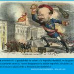 Caricatura La Flaca: el general Pavía ter,mona con la república federal y propia la restauración borbónica