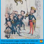 La caricatura de la Flaca: Prim sosteniendo el trono