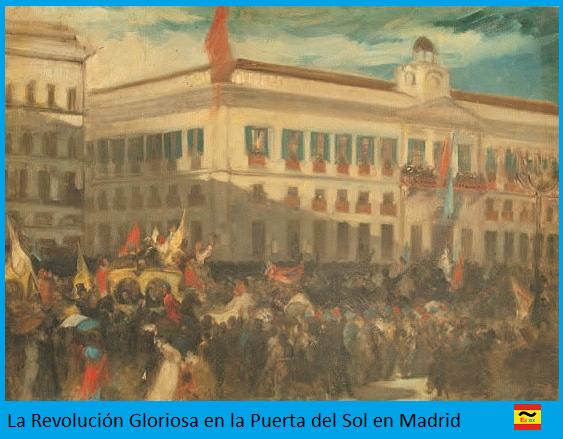 Revolución Gloriosa en la Puerta del Sol de Madrid