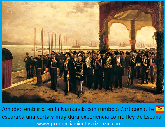 Antes del asesinato de Prim, Amadeo embarca en la Numancia con rumbo a Cartagena