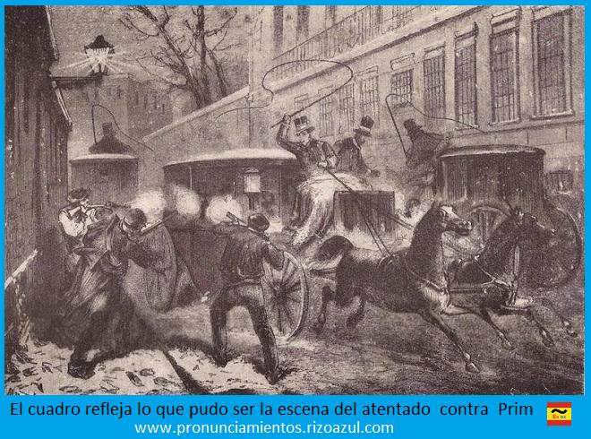 El atentado de Prim en la calle del Turco. Asesinato de Prim