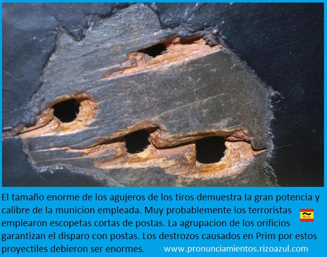 Orificios de las postas en la berlina del atentado de Prim