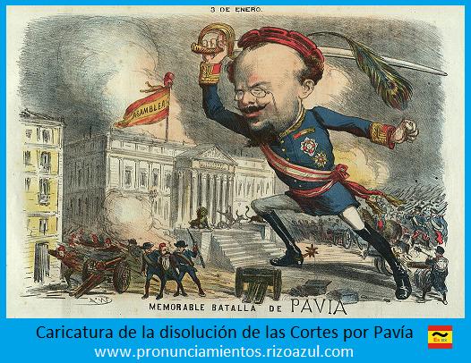Caricatura golpe de estado de pavía