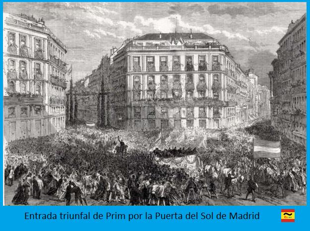 Entrada triunfal de Prim en la Puerta del Sol de Madrid