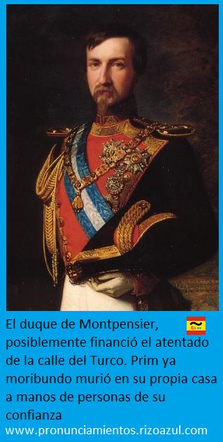 Duque de Montpensier uno de los sospechosos del asesinato de Prim.