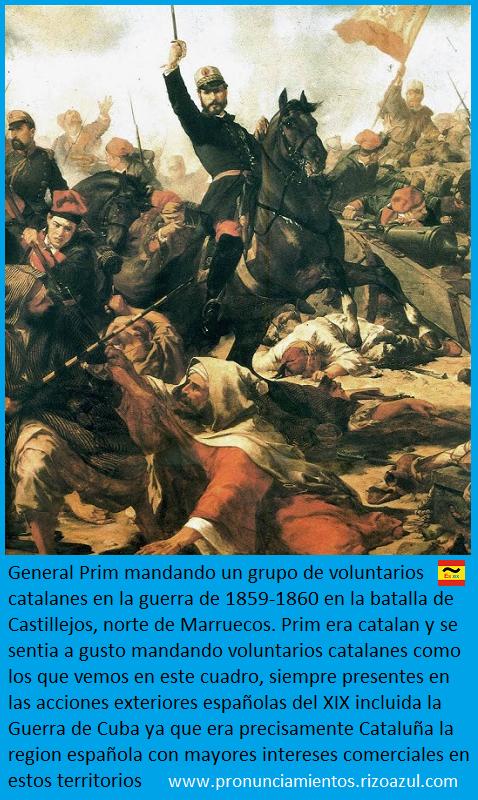 Prim con los voluntarios catalanes en la batallas de Castillejos