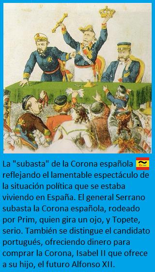 Caricatura de la subasta del trono de España: Serrano, Prim y Topete
