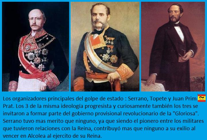 Serrano, Topete y Juan Prim; los artífices del derrocamiento de Isabel II