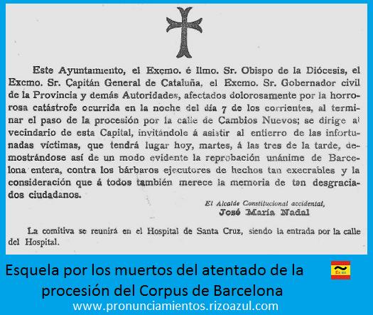Esquela por los muertos del Atentado procesión corpus de Barcelona