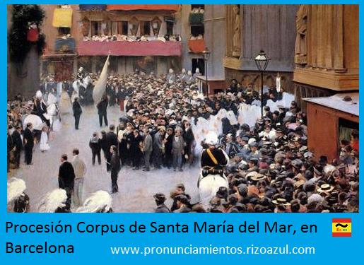Atentado procesión corpus de Barcelona de Santa María del Mar, en Barcelona