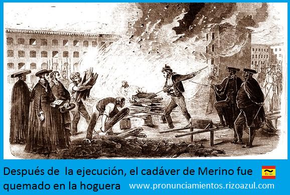 Incineración del Cura Merino después del garrote vil