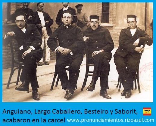 Anguiano, Largo Caballero, Besteiro y Saborit, acabaron en la carcel