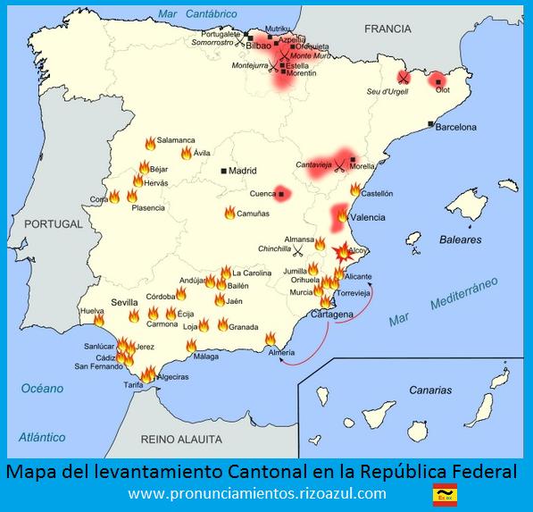 Cantón de Cartagena. Mapa con los levantamientos cantonales