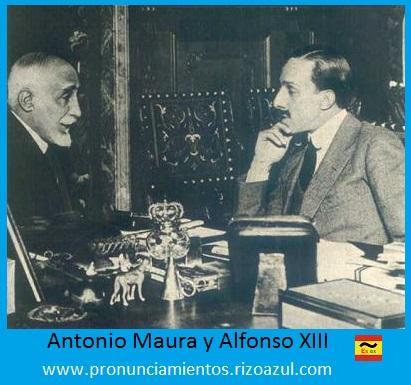 Semana trágica de Barcelona. Alfonso XIII y Maura