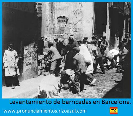 Semana trágica de Barcelona. Levantamiento de barricadas en Barcelona.