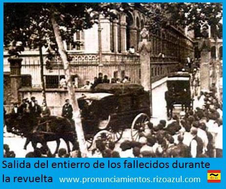 Semana trágica de Barcelona. Salida del entierro de los fallecidos durante la revuelta