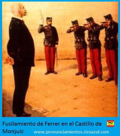 Semana trágica de Barcelona. Fusilamiento de Ferrer en el Castillo de Monjuic