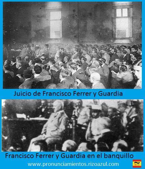 Semana trágica de Barcelona. Juicio de Francisco Ferrer y Guardia. Francisco Ferrer y Guardia en el banquillo