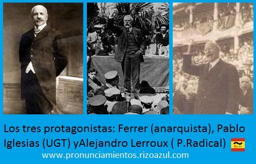 Semana trágica de Barcelona.Los tres protagonistas: Ferrer (anarquista), Pablo Iglesias (UGT) y Alejandro Lerroux ( P.Radical)
